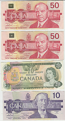 Canada lot of 8 x bank notes inc 2 x $50 , $20 , $10 Total = $141