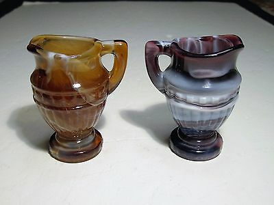 2 Imperial Slag Glass Miniature Pitchers 1 Is Purple & 1 Is Caramel