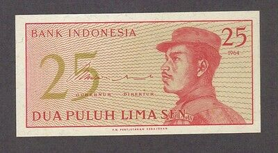 1964 25 Sen Indonesia Currency Unc Banknote Note Money Bank Bill Cash Asia Gem