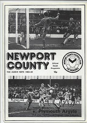 Newport County v Plymouth Argyle FA cup replay 1984 rare 4 page programme