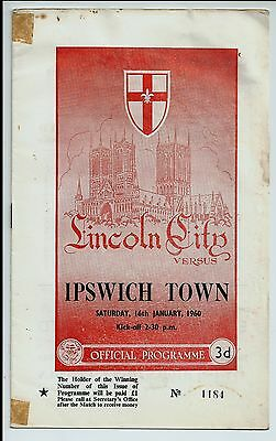Lincoln City v Ipswich Town Football programme 1959 / 60