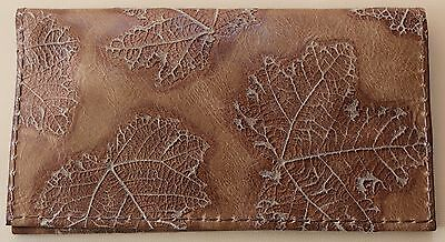 Chocolate  Maple Leaf Embossed  Leather Check Book Cover Free Shipping