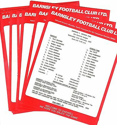 1986-1987 Barnsley Reserves Homes - select the one you want POST FREE