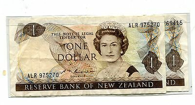 1967-81 New Zealand One Dollar Bills - 2 Pieces - Circulated