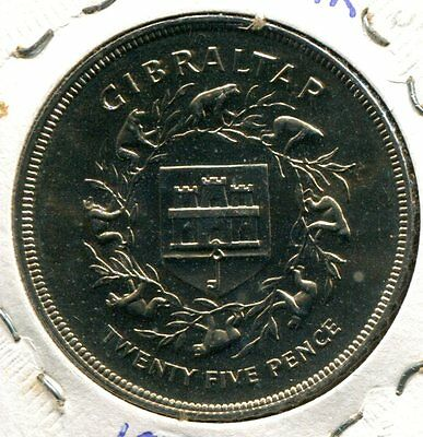 Gibraltar 1977 One Crown, 25th Anniversary of Coronation, KM#10, BU