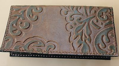 Simple Leather Checkbook Cover Elegant Brown & Green W/ Black Pigskin Lining