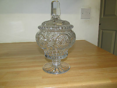 Vintage Decorative Crystal Cut Glass Candy Dish With Lid
