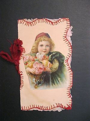 VTG Valentine Card Greeting Hand Sewn Silk Victorian Trade Card Book Booklet J