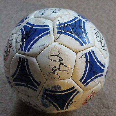 TORQUAY UNITED FC Hand SIGNED 1999 Football by 20 inc NEVILLE SOUTHALL Vintage