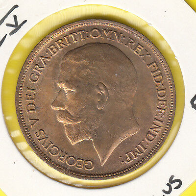 """1916 George V Penny UNCirculated Spink 4051 """"Normal Ear"""" A very nice coin (1931)"""