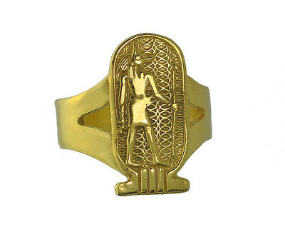 Egyptian Egypt Ring Jackal Anubis 24K GOLD PLATED over Real Sterling SILVER 925