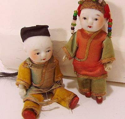 Antique Doll Pair Husband Wife Bisque Jointed Miniature Asian Chinese Orig Cloth