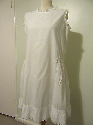 Vintage white cotton shift tennis dress hand made  lace trim 36""