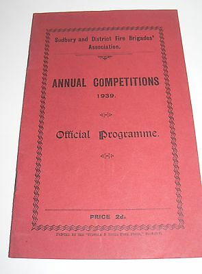 Sudbury And District Fire Brigades Association Annual Comp 1939 Offical Prog