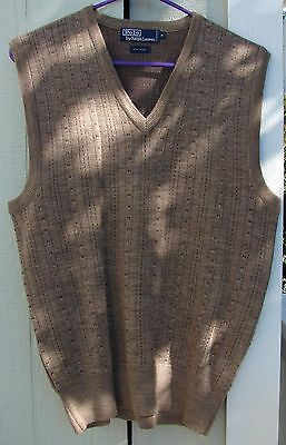Mens Polo Ralph Lauren V-Neck Sweater Vest 100% Wool Medium Brown Ribbed