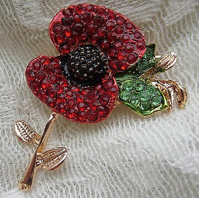 Veterans War Remembrance Red Poppy Flower Brooch Pin 989 Picclick