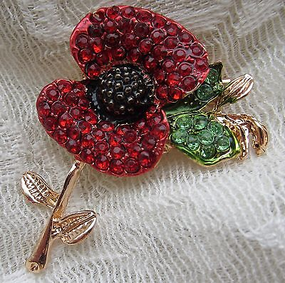 Victorian Style Veterans War Remembrance Red Poppy Flower  Brooch Pin