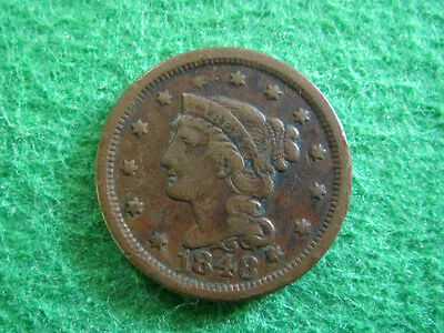 1848 Braided Hair Large Cent - Fine+/Very Fine detail - Free U S Shipping
