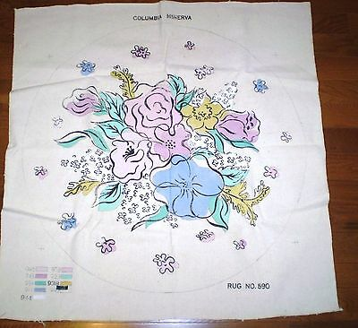 Vintage 36 Inch Round Rug Chair Cover Floral Needlepoint Printed Canvas #590