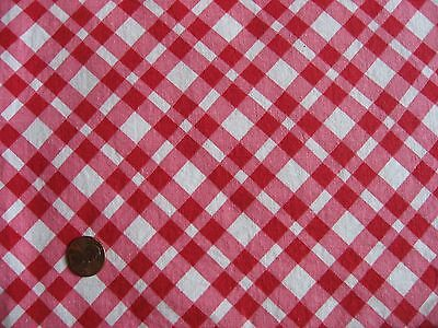 Red Pink White Plaid Vintage Cotton feedsack Fabric