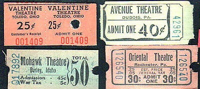 40 vintage old movie tickets all different original cinemas & drive ins 1940-50