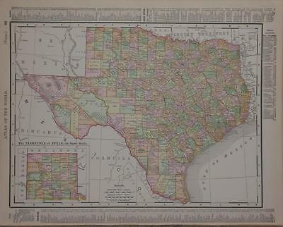 1898 Texas  Antique Dated Color Atlas Map* Oklahoma & Indian Territory on back