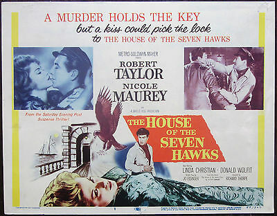 House Of The Seven Hawks 1959 Robert Taylor Original US Title Card