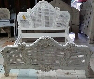 Rococo 5' King Size French Style Louis Mahogany Rattan Bed Ant White Brand New