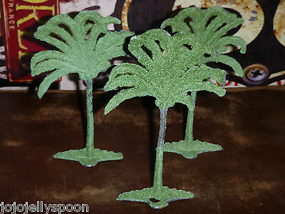 VINTAGE BRITAINS ? FLOCKED  LEAD COCONUT PALM TREES SCENERY LOT 1930's - 50's.