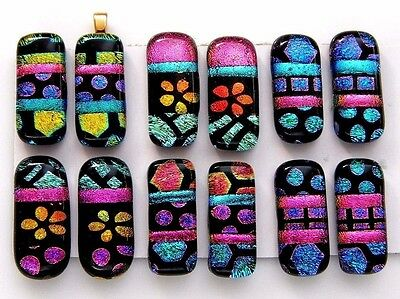 For dangle earrings Lot 12 pcs HANDMADE pendant DICHROIC FUSED GLASS (L12) CAB