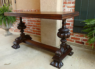 Antique English Carved Mahogany Hall Sofa Table Desk Victorian