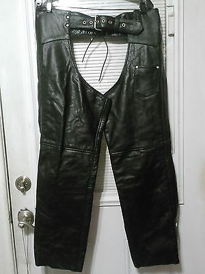 Vintage Leather Motorcycle Riding Chaps By Allstate Size Small
