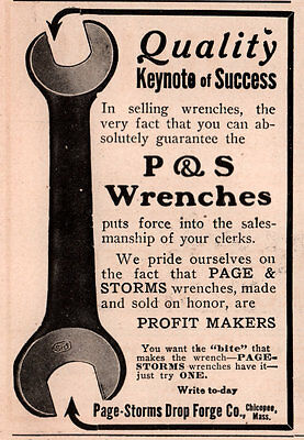 1914 Ad Page Storms Drop Forge Co Chicopee Wrenches