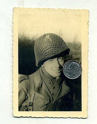 WW2 US ARMY GI Wearing CAMO NETTED M-1 HELMET Theater-Printed PHOTOGRAPH