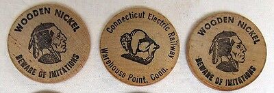 Vtg Wooden Nickel Connecticut Electric Railway Warehouse Point CT Lot of 3 #4047