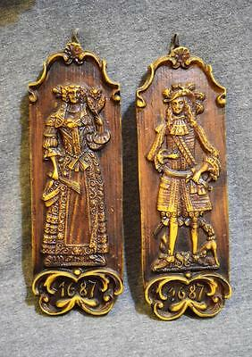 Antique 1687 Hard Wax Traditional Colonial Period Man & Woman Wall Hanger Pair