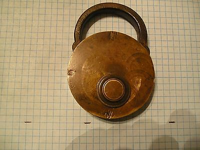 """Antique Lock - 4 3/8"""" - Brass Body And Drop - Unmarked"""