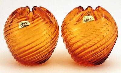 2 Chalet Art Glass Amber Twisted Swirled Vases Small Rose Bowls Original Labels