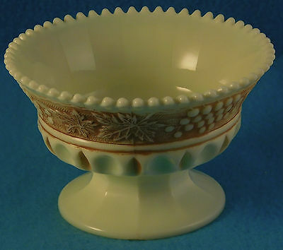 Custard Glass Footed Reproduction Grape & Cable Brown-Stained Design