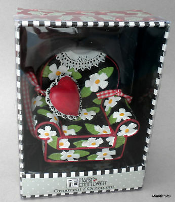 Mary Englebreit New Hanging Ornament 3in Armchair Black Daisy Red Boxed Holiday