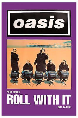Oasis:  *  Roll with it  * Promotional Group Photo Poster 1995  12x18