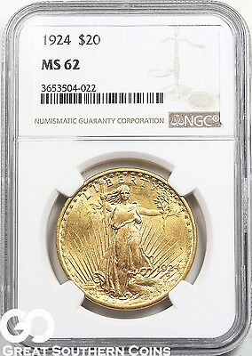 1924 NGC Double Eagle, $20 Gold St Gaudens NGC MS 62 ** Super Lustrous Beauty!