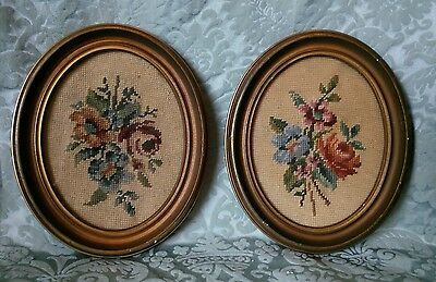 Antique Framed Floral Needlepoint Pair
