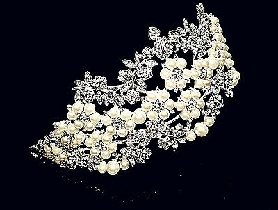 Silver Bridal Pageant Wedding Prom Crystal Queen Crown Tiara Faux Pearls W20