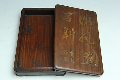 Chinese Antique Quince Wood Ink Stone Box Suzuribako Calligraphy Writing D138