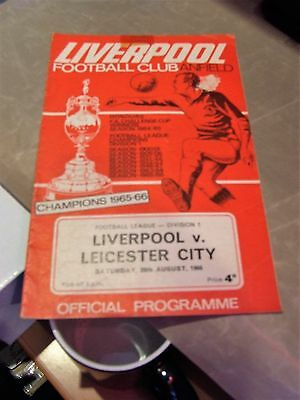 liverpool vs leicester city 1966-67  football programme