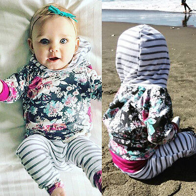 Newborn Infant Baby Girl Clothes Hoodie Floral Tops+ Pants Leggings 2Pcs Outfits