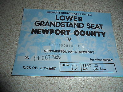 Ticket: Newport County V. Portsmouth 11.10.80 - Free Post
