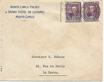 MONACO 1928 COVER WITH PAIR 25c WITH PHILATELIC EXPO SLOGAN REF 422