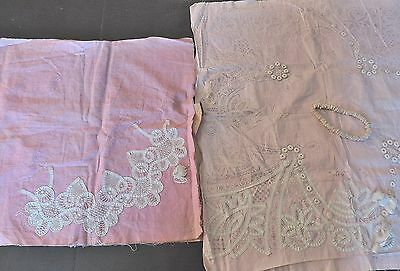 2 Antique Guipure Lace Stamped for Completion Doilies Partially Done 100+ Rings